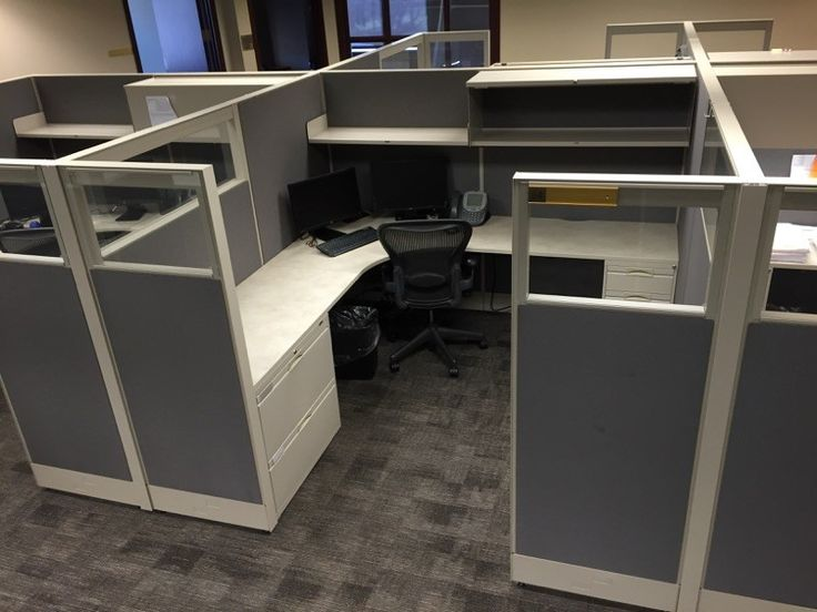 Used Office Cubicles in Memphis with Glass Siz  Used