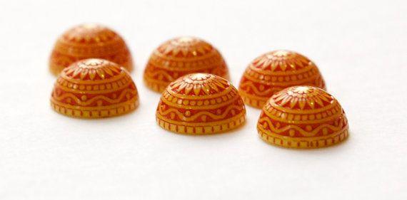 Vintage Acrylic Etched Mosaic Yellow Reddish Orange Cabochons 10mm cab712C 6