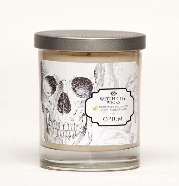 """Opium soy candle by Witch City Wicks: Fine mellow tobacco with a hint of cherrywood infused with an exotic blend of earthy resins found in Dragon's Blood. The """"Curiosities"""" collection label art work is inspired by modern curiosities and nature. 10% off with promo code PIN10"""