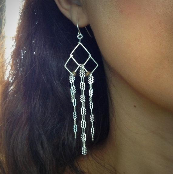 long silver dangle earrings - geometric dangle - long chain earrings - tribal earrings