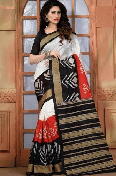 Honeydews Multicolour Bhagalpuri Silk Printed Saree With Unstitched Blouse