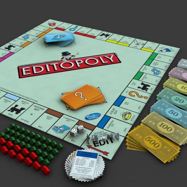 Editopoly 3D model Monopoly money, Model, Board games
