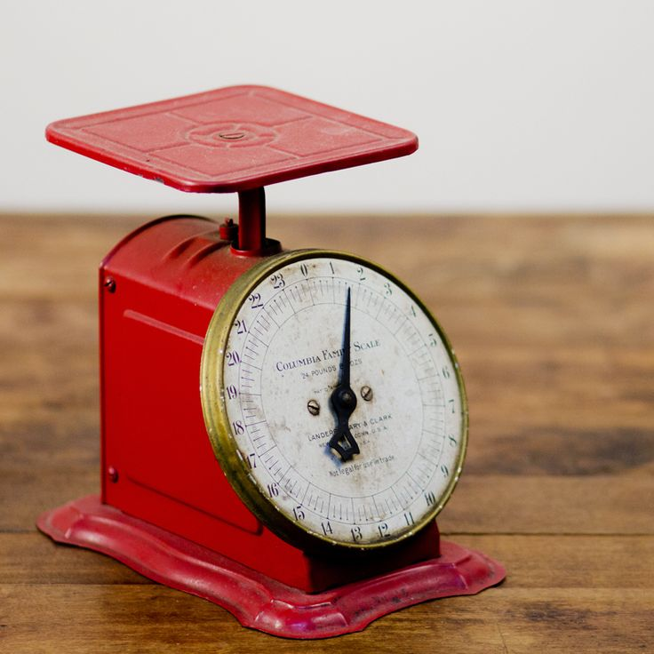 Red Kitchen Scale Vintage