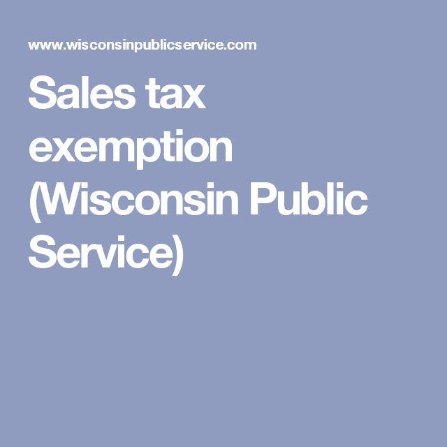 Sales tax exemption (Wisconsin Public Service)