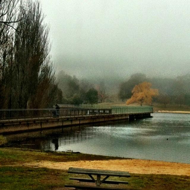 Lake Canobolas on a foggy day