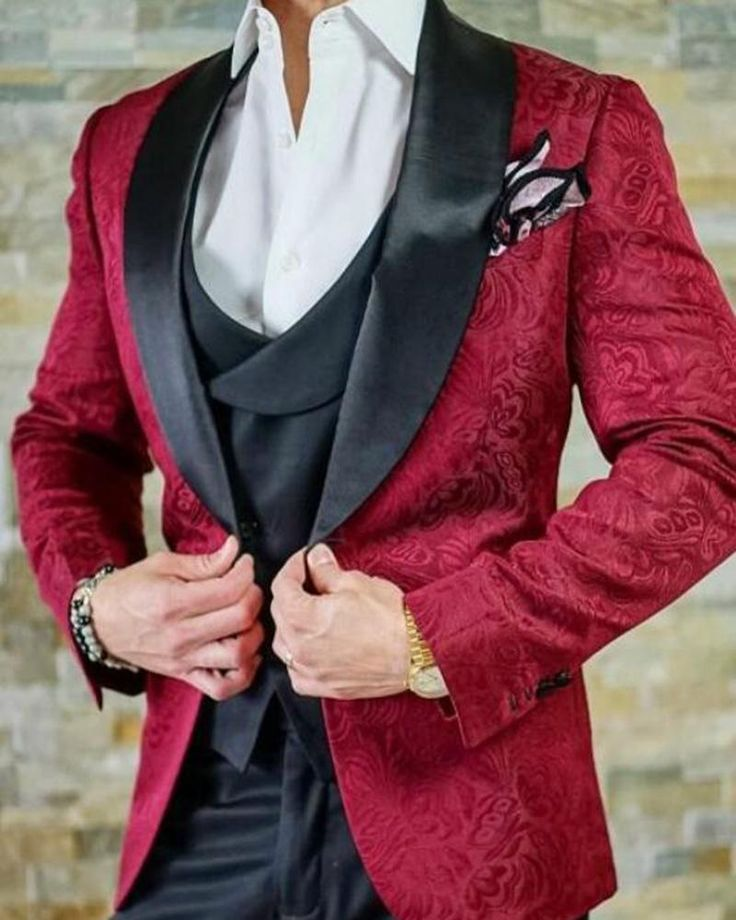 Burgundy red wedding suits for men embossing groom tuxedos