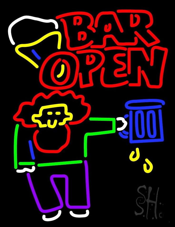 Double Stroke Bar Open With Man and Mug Neon Sign 31 Tall x 24 Wide x 3 Deep, is 100% Handcrafted with Real Glass Tube Neon Sign. !!! Made in USA !!!  Colors on the sign are Red, Yellow, White, Blue and Purple. Double Stroke Bar Open With Man and Mug Neon Sign is high impact, eye catching, real glass tube neon sign. This characteristic glow can attract customers like nothing else, virtually burning your identity into the minds of potential and future customers.