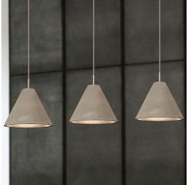 Cone Shaped Concrete Pendant - Medium Milan Direct