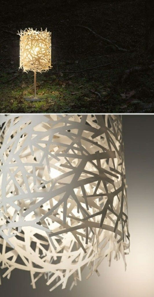 streifen lampe papier basteln hängend tischlampe