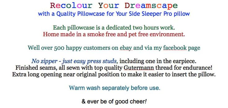 Coloured Pillowcases for Side Sleeper Pro pillows