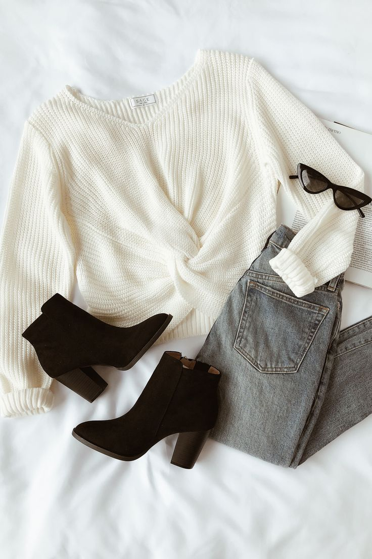 Hold You Close Cream Knotted Front Sweater