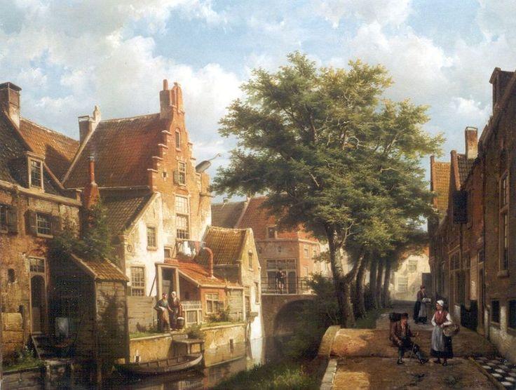 Koekkoek W. | Willem Koekkoek, Zonnig stadsgrachtje in IJsselstein, olieverf op doek 54,4 x 69,2 cm, gesigneerd r.o.
