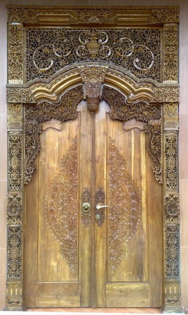antique teakwood door, Island of Java, Indonesia
