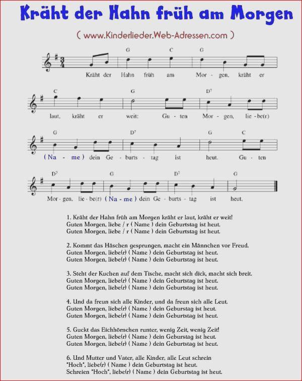 Lied Kräht Der Hahn Früh Am Morgen Guten Morgen Lieder