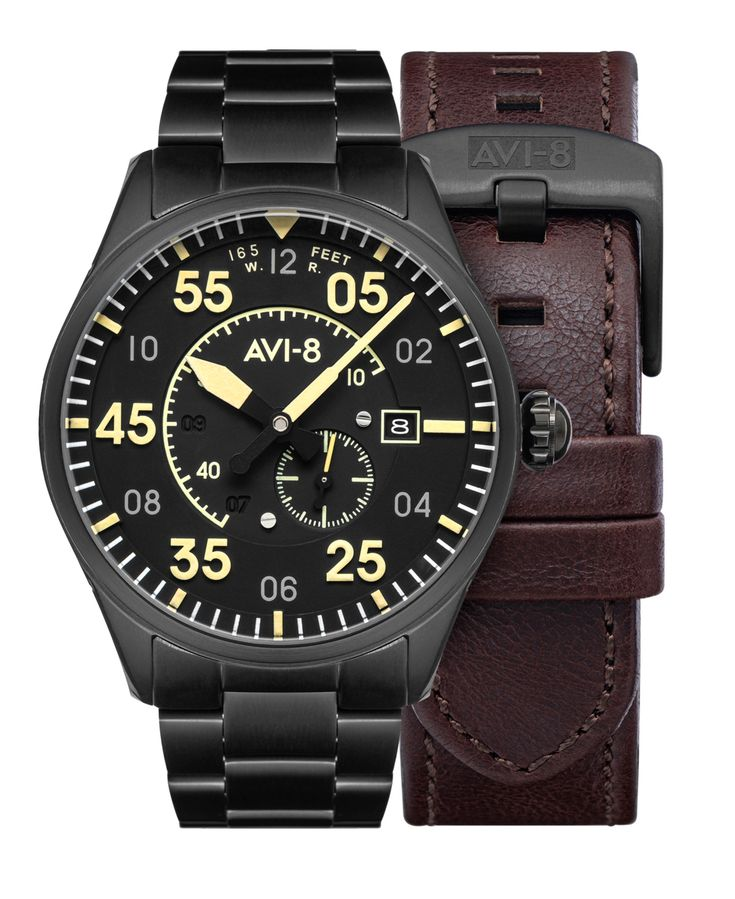 Avi 8 Men S Spitfire Black Tone Solid Stainless Steel Bracelet And Dark Brown Genuine Leather Strap Watch 42mm Reviews Macy S In 2021 Stainless Steel Bracelet Leather Straps Genuine Leather