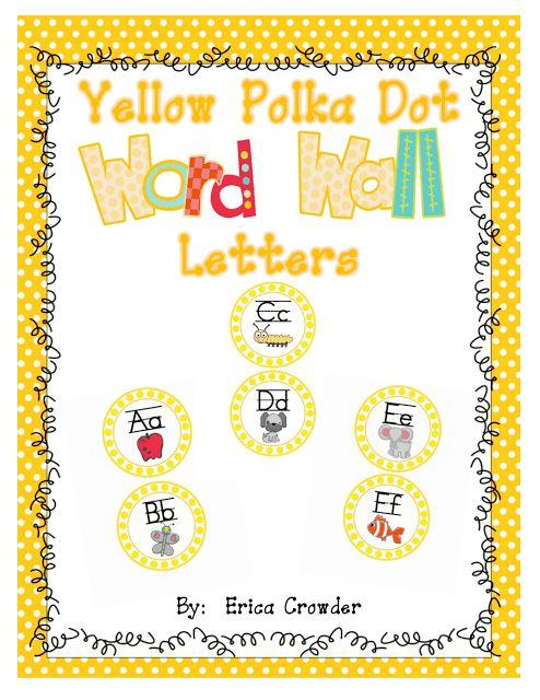 "Sprinkles to Kindergarten!: Free""bee"" Yellow Polka Dot Word Wall Letters"