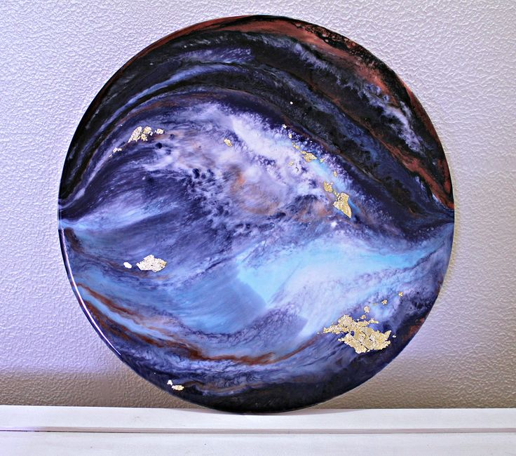 16inch circle Resin Painting, Multi colored Abstract Wall Art with Gold Leaf accents by TheGannonStudio on Etsy https://www.etsy.com/listing/547524177/16inch-circle-resin-painting-multi