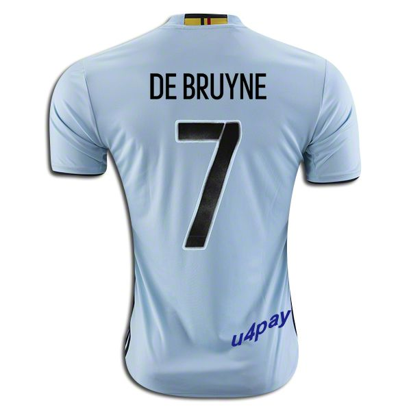 014a8f9dc6b ... 2016 UEFA Euro Belgium Kevin De Bruyne 7 Youth Away Soccer Jersey ...