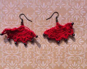 Red Fan Beaded Crocheted Earrings