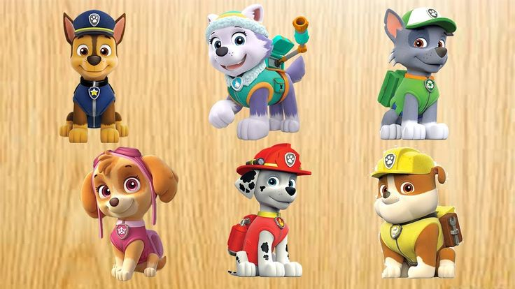 Learn colors with Paw Patrol Toys Rocky, Zuma, Marshall, Skye, Chase, Ru...