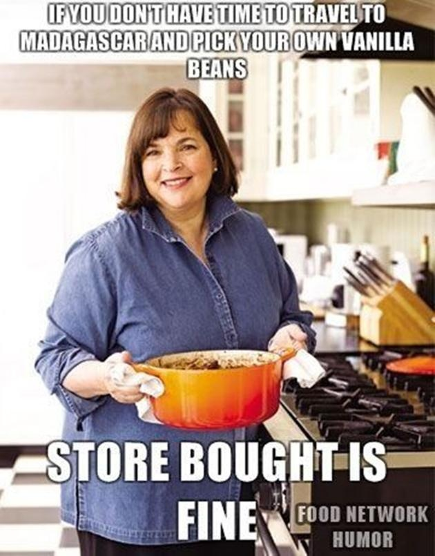 Food Network humor Ina Garten can be a snob sometimes! But she's got great recipes!!