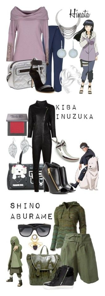 """Team Kurenai from Naruto"" by laniocracy on Polyvore featuring hinata, kiba, shino, Diane Von Furstenberg, Panacea, Cristina Effe, Marc by Marc Jacobs, Cole Haan, Leslie Greene and Braccialini"