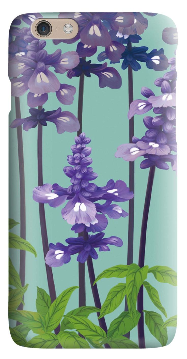 Whatskin DIY Style Purple Plants with Blue Background Hard Back Cover for iphone 6