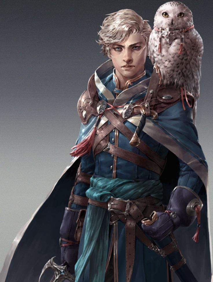 Zirus, the white owl, young mage, wizard, white hair, white sorcerer, magic, pet owl, great outfit, RPG, DnD, D&D by the great Adam Lee