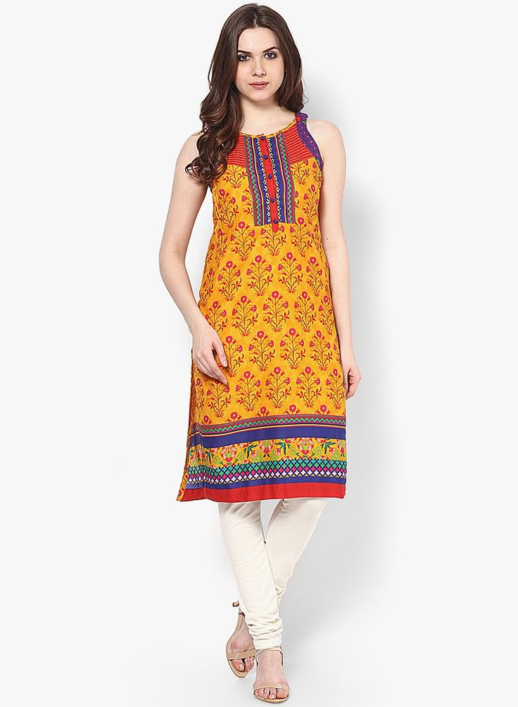 Cotton Yellow Kurta by Rangriti, for early spring. :)  Limitied time OFFER on Pinterest- Only USD 19 SHOP HERE--> http://www.jabongworld.com/cotton-yellow-kurta-2137441.html