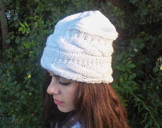 White knit beanie Cable knit hat Slouchy beanie by HandmadeTrend, $28.00