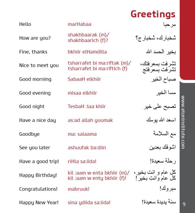 Learn Emirati Arabic, the language used in the United Arab Emirates, with Eton Institute's phrasebooks.