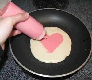 Valentine Pancakes...love this, and so easy to do with food coloring and a squeeze bottle! by darlene