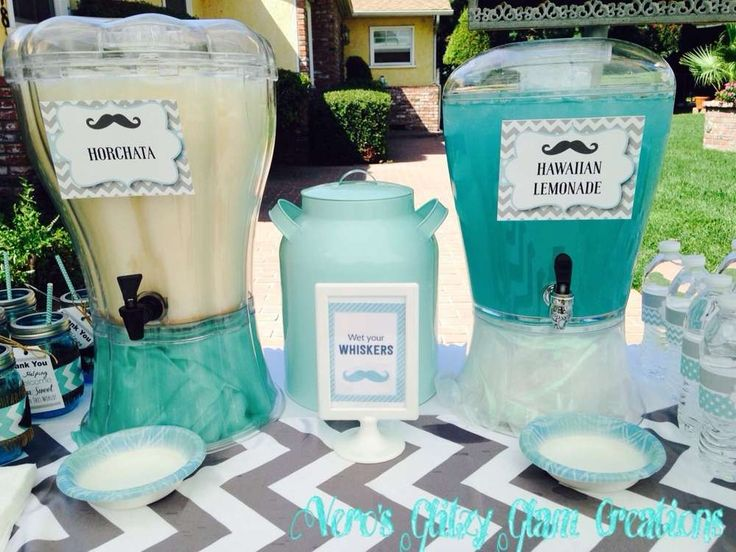 Little man baby shower party drinks! See more party planning ideas at CatchMyParty.com!