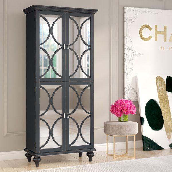 Ingram Tall Mirrored Wine Bar Cabinet, Mirrored Wine Cabinet