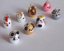 Polymer Clay Animal Charms - Miniature Clay Animals - Polymer Clay Charms - Your Choice Cute Kawaii Animal Accessory                                                                                                                                                      Más