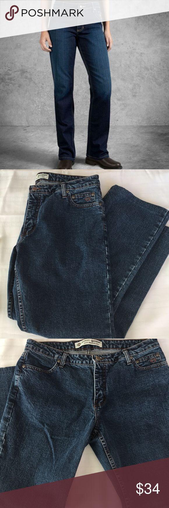 "Harley-Davidson Denim Bootcut Jeans Harley Davidson Bootcut Jeans- Size 14- EUC 97% Cotton / 3% Lycra Waist 36"" Length 38.5"" Harley-Davidson Jeans Boot Cut #harleydavidsonboots"