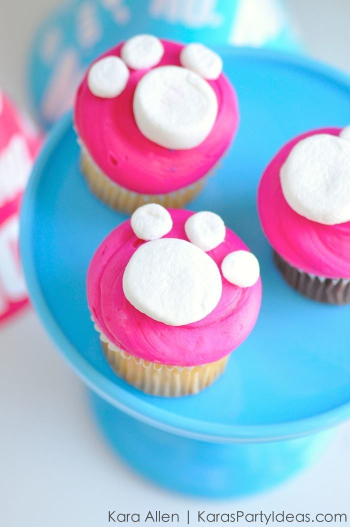 Cat Paw Print Cupcakes at a Kitty Party! Kara Allen | Kara's Party Ideas for Friskies Party Mix - Grumpy Cat's Birthday Party KarasPartyIdeas.com #catparty #catcupcakes #1mmgrumpyfrowns