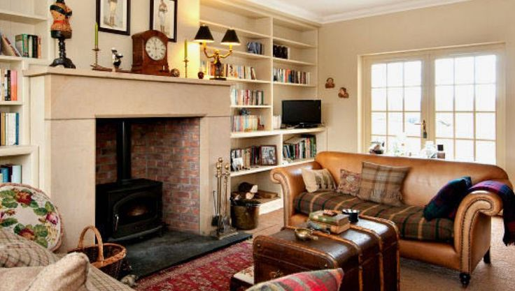 Stove and fireplace in traditional living room