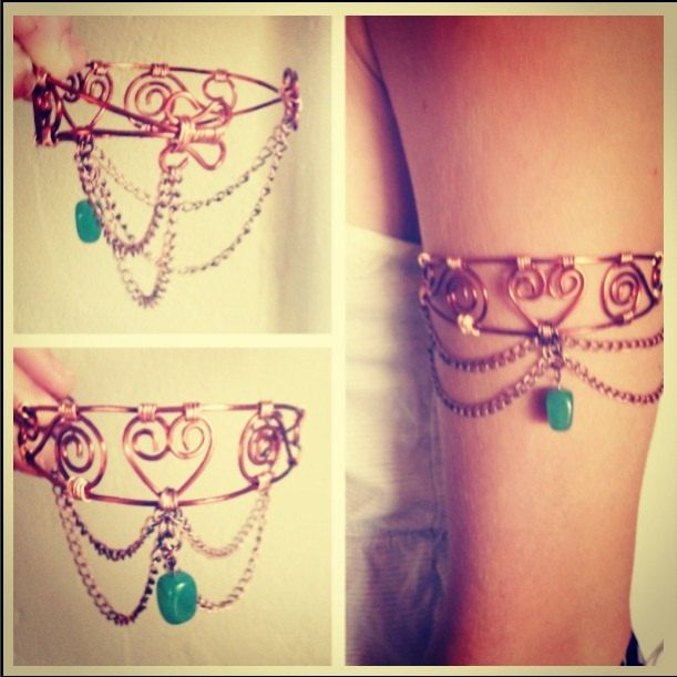 Handmade Wire Wrapped Copper Upper Arm Cuff by LiveFreeGifts, $35.00