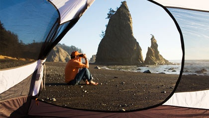 View through tent on black sand beach in Olympic National Park, WA    Article - Favorite American Campsites