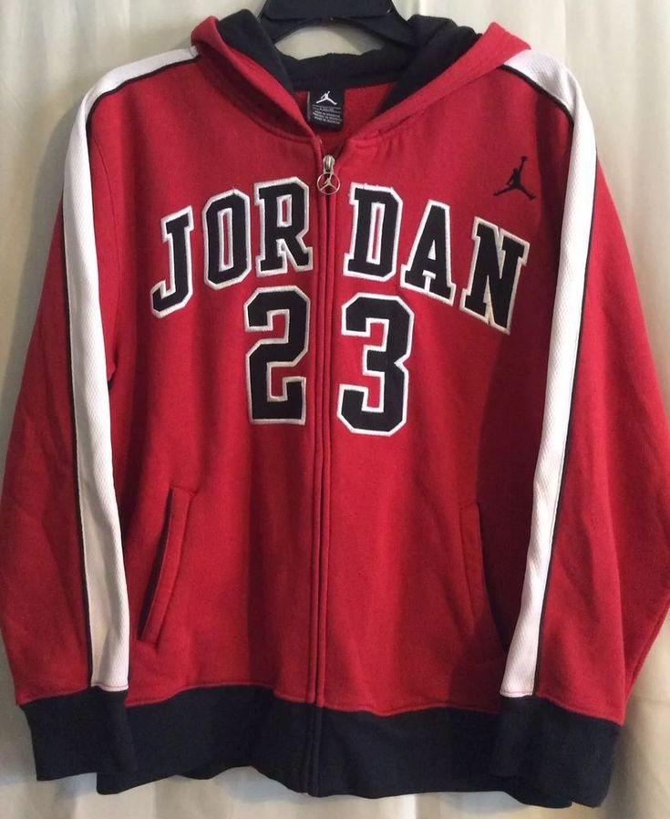 Number 23 Jumpman Michael Jordan Hoodie Junior Large Zip Front Red Black #Nike #ZIPFRONTHOODIE #Everyday