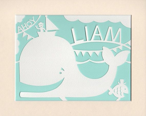 Nautical Nursery Art Personalised Whale Papercut  #papercut #whale #nurserydecor