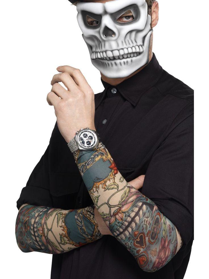 Day of the Dead-tatuointihihat. Day of the Dead- tatuointihihoilla tuot käsivarsiin aimo annoksen rockhenkeä ja voit täydentää naamiaisasuja ilman, että tarvitsee oikeasti värittää nahkaansa.