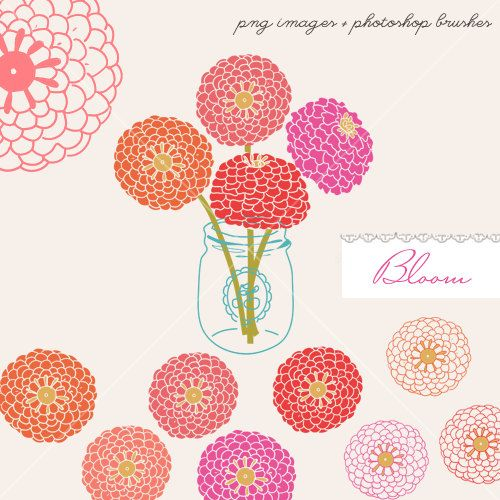CLIP ART and Photoshop brushes - Bloom - for commercial and personal use
