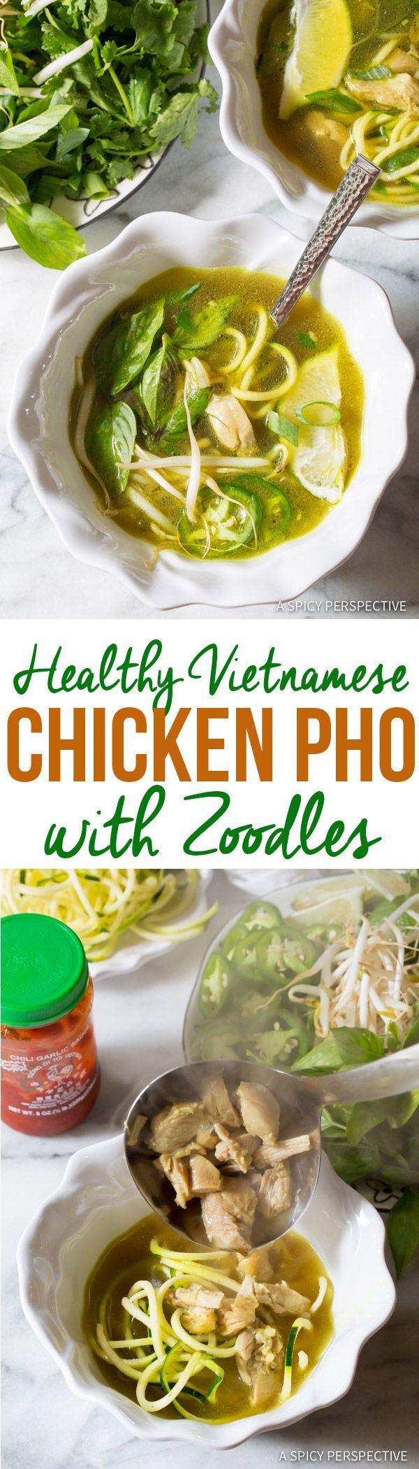 Healthy Vietnamese Chicken Pho with Zoodles (Gluten Free & Paleo!) | ASpicyPerspective.com via @spicyperspectiv