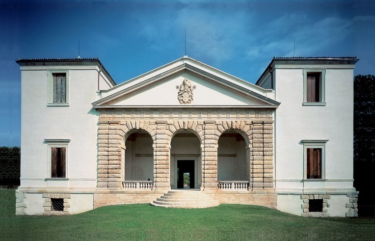 #Villa #Pisani #Bonetti - loc. Biron, Monteviale (VI) #Italy.  The villa, built between 1544 and 1545, was designed by Andrea #Palladio. The architect's high regard for the power of the Pisani family, who commissioned the villa, is reflected in his work. According to the original design, the building had to have two main façades: the one looking towards the river was finished and you can still admire its magnificent arches, whereas the one looking towards the country was never completed.