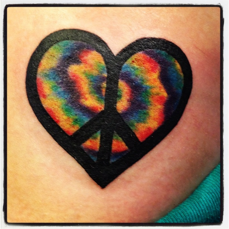 Tie dye heart tattoo