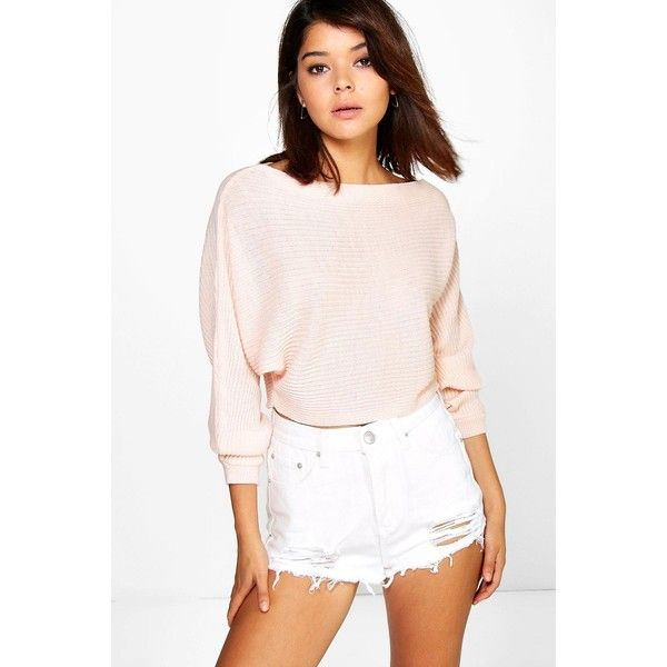 Boohoo Georgia Rib Knit Batwing Crop Jumper ($20) ❤ liked on Polyvore featuring tops, sweaters, nude, pink crop top, pink jumper, cropped sweater, ribbed knit sweater and pink tops