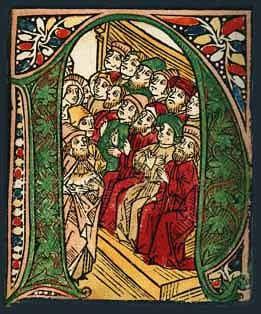 'N' - inicjał z Biblii Zainera wydanej w Augsburgu w r. 1475