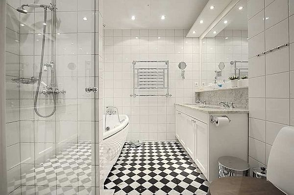 This is a beautiful white bathroom.
